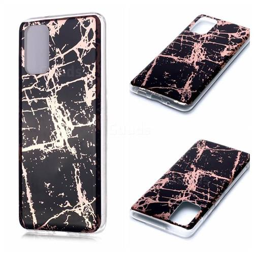 Black Galvanized Rose Gold Marble Phone Back Cover for Samsung Galaxy S20 Plus / S11