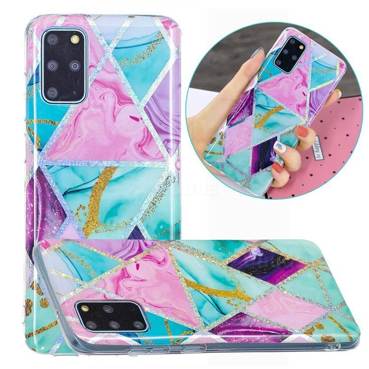 Triangular Marble Painted Galvanized Electroplating Soft Phone Case Cover for Samsung Galaxy S20 Plus