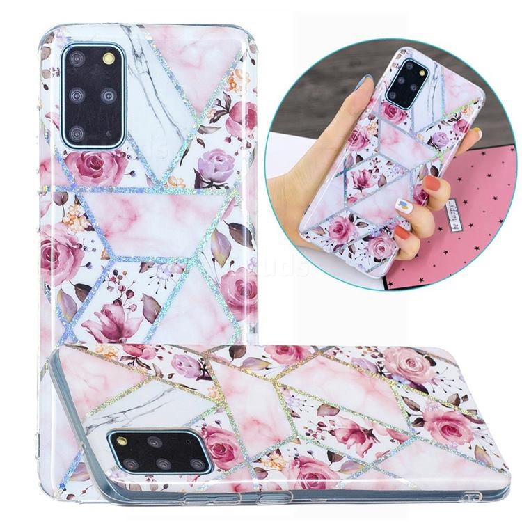 Rose Flower Painted Galvanized Electroplating Soft Phone Case Cover for Samsung Galaxy S20 Plus