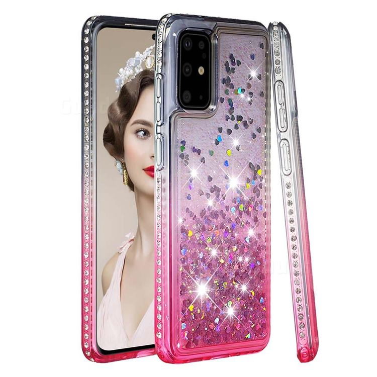 Diamond Frame Liquid Glitter Quicksand Sequins Phone Case for Samsung Galaxy S20 Plus - Gray Pink