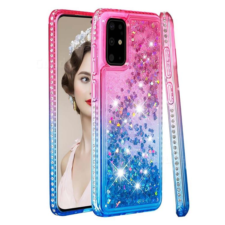 Diamond Frame Liquid Glitter Quicksand Sequins Phone Case for Samsung Galaxy S20 Plus - Pink Blue