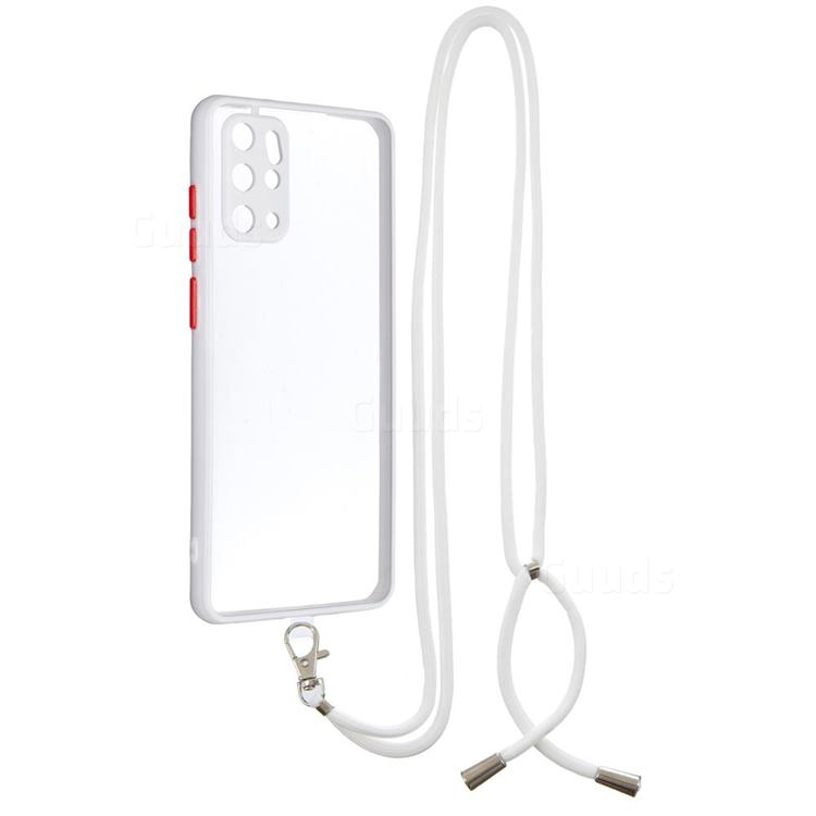Necklace Cross-body Lanyard Strap Cord Phone Case Cover for Samsung Galaxy S20 Plus - White