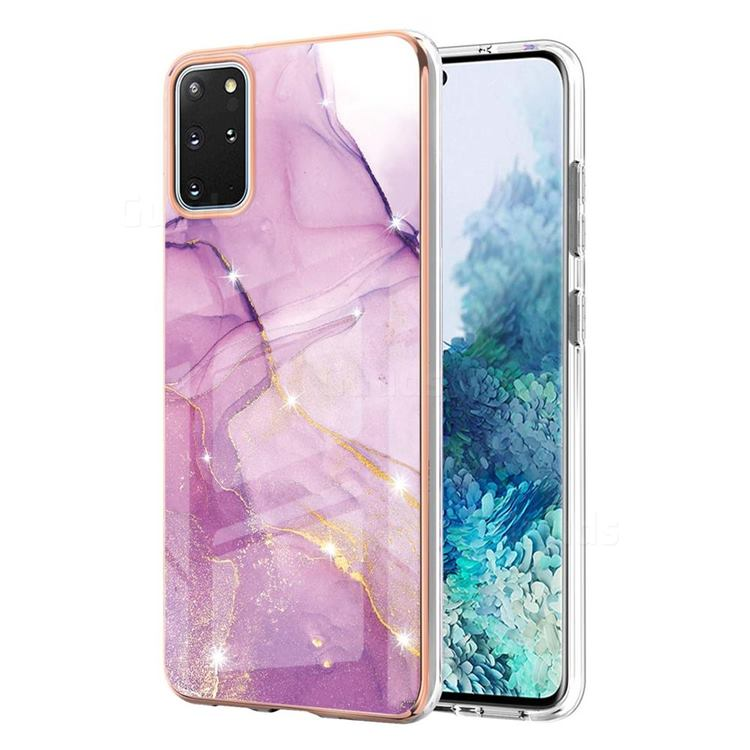 Dream Violet Electroplated Gold Frame 2.0 Thickness Plating Marble IMD Soft Back Cover for Samsung Galaxy S20 Plus