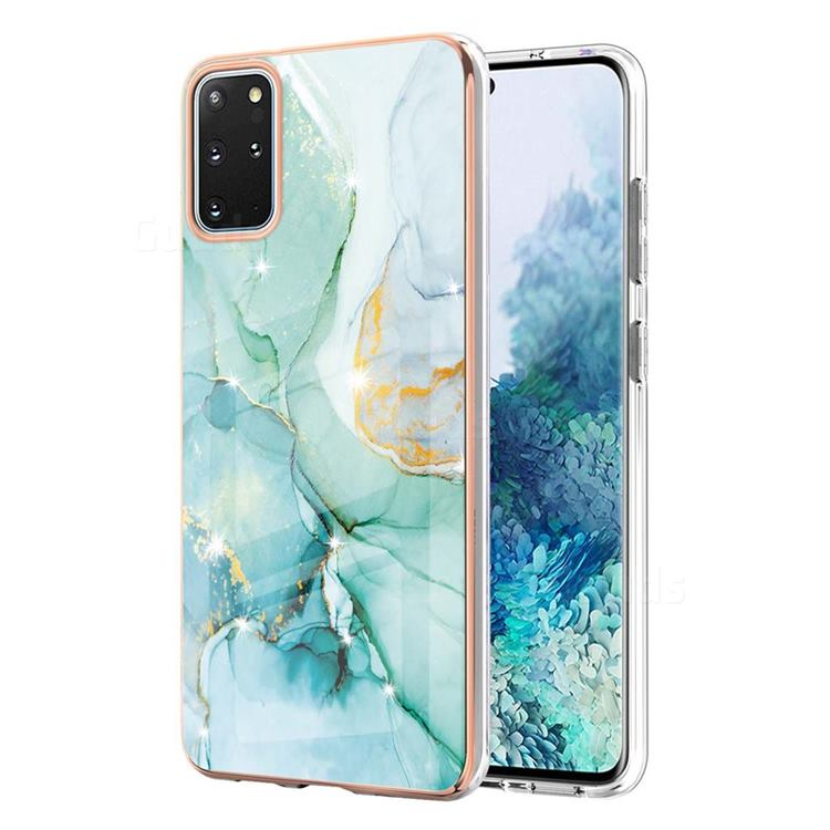 Green Silk Electroplated Gold Frame 2.0 Thickness Plating Marble IMD Soft Back Cover for Samsung Galaxy S20 Plus