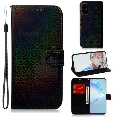 Laser Circle Shining Leather Wallet Phone Case for Samsung Galaxy S20 Plus / S11 - Black