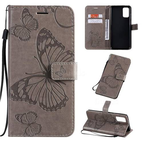 Embossing 3D Butterfly Leather Wallet Case for Samsung Galaxy S20 Plus / S11 - Gray