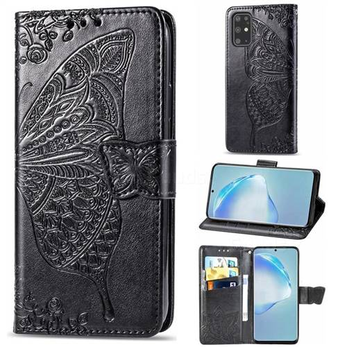 Embossing Mandala Flower Butterfly Leather Wallet Case for Samsung Galaxy S20 Plus / S11 - Black