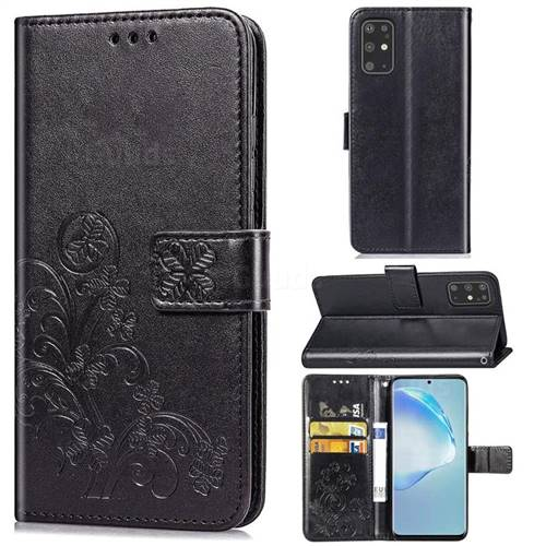 Embossing Imprint Four-Leaf Clover Leather Wallet Case for Samsung Galaxy S20 Plus / S11 - Black
