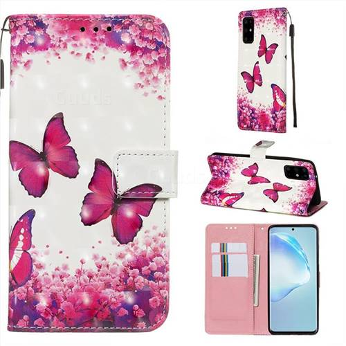 Rose Butterfly 3D Painted Leather Wallet Case for Samsung Galaxy S20 Plus / S11