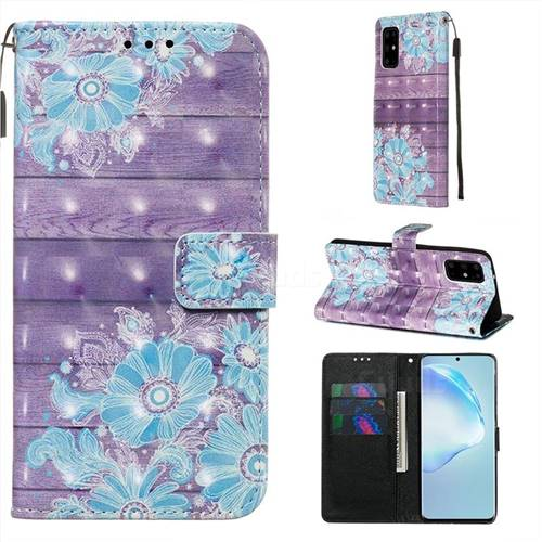 Blue Flower 3D Painted Leather Wallet Case for Samsung Galaxy S20 Plus / S11