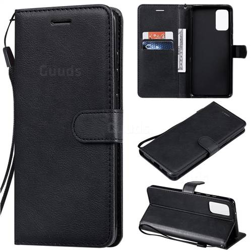 Retro Greek Classic Smooth PU Leather Wallet Phone Case for Samsung Galaxy S20 Plus / S11 - Black