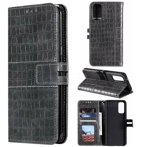 Luxury Crocodile Magnetic Leather Wallet Phone Case for Samsung Galaxy S20 Plus / S11 - Gray