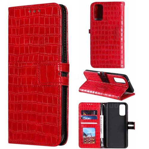 Luxury Crocodile Magnetic Leather Wallet Phone Case for Samsung Galaxy S20 Plus / S11 - Red