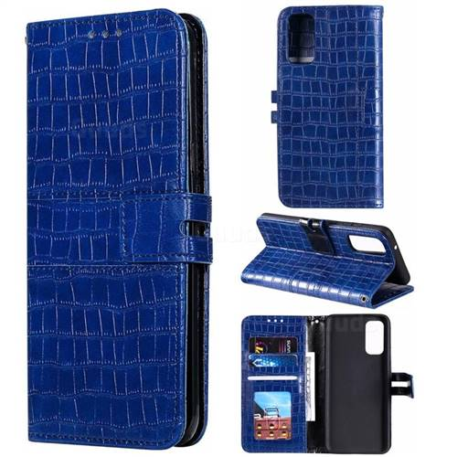 Luxury Crocodile Magnetic Leather Wallet Phone Case for Samsung Galaxy S20 Plus / S11 - Blue