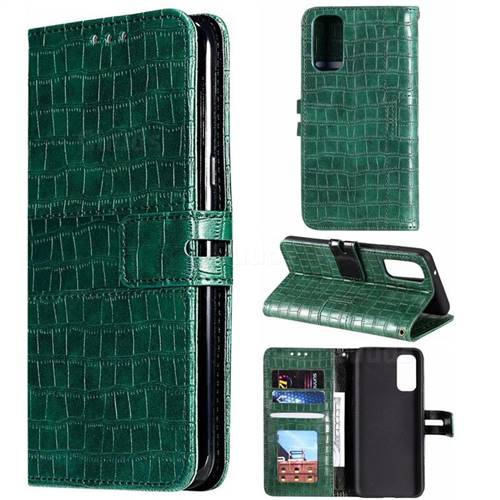 Luxury Crocodile Magnetic Leather Wallet Phone Case for Samsung Galaxy S20 Plus / S11 - Green
