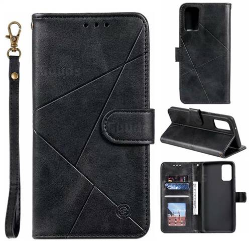Embossing Geometric Leather Wallet Case for Samsung Galaxy S20 Plus / S11 - Black