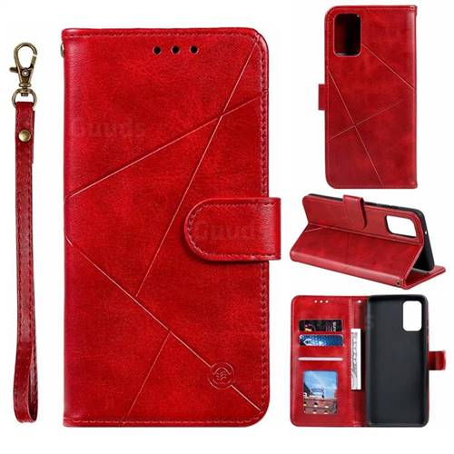 Embossing Geometric Leather Wallet Case for Samsung Galaxy S20 Plus / S11 - Red