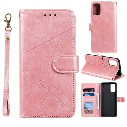 Embossing Geometric Leather Wallet Case for Samsung Galaxy S20 Plus / S11 - Rose Gold