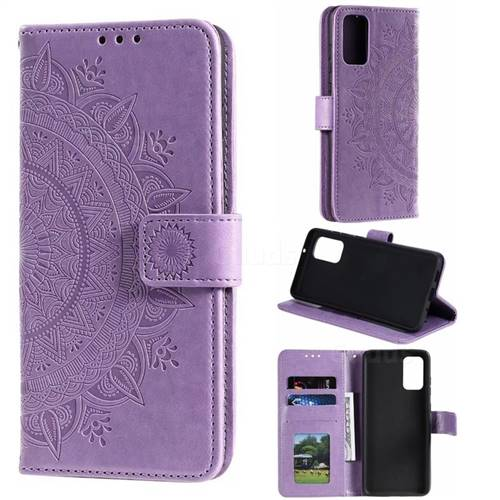 Intricate Embossing Datura Leather Wallet Case for Samsung Galaxy S20 Plus / S11 - Purple