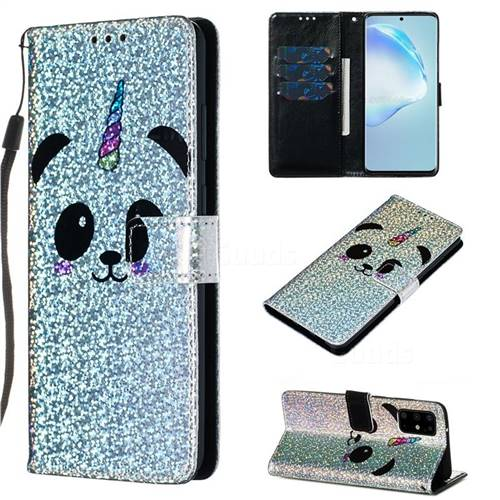 Panda Unicorn Sequins Painted Leather Wallet Case for Samsung Galaxy S20 Plus / S11