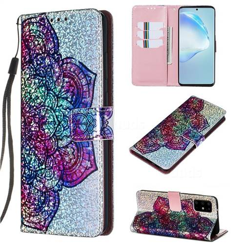 Glutinous Flower Sequins Painted Leather Wallet Case for Samsung Galaxy S20 Plus / S11