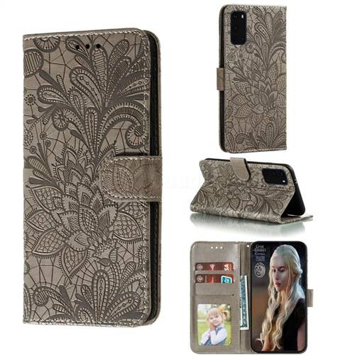 Intricate Embossing Lace Jasmine Flower Leather Wallet Case for Samsung Galaxy S20 Plus / S11 - Gray