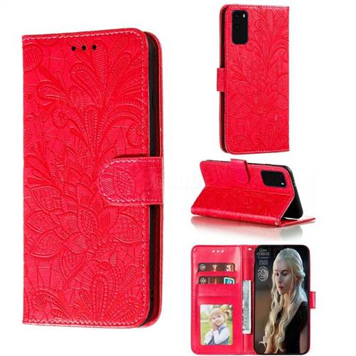 Intricate Embossing Lace Jasmine Flower Leather Wallet Case for Samsung Galaxy S20 Plus / S11 - Red
