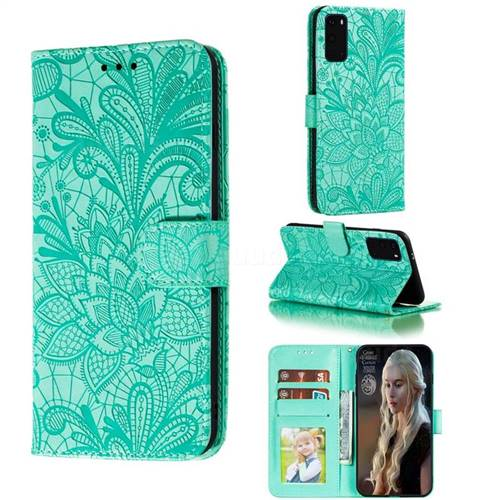 Intricate Embossing Lace Jasmine Flower Leather Wallet Case for Samsung Galaxy S20 Plus / S11 - Green