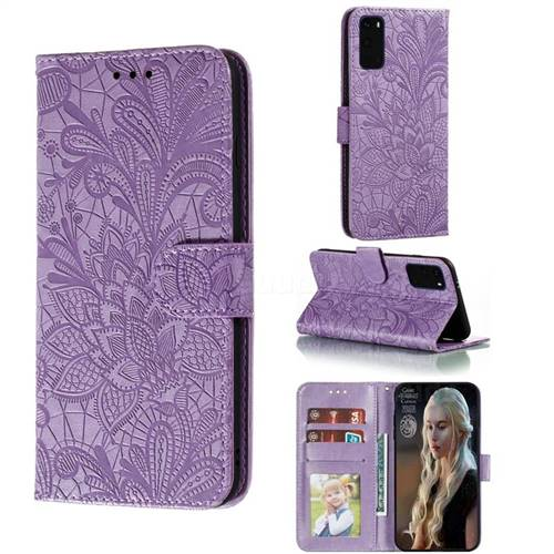 Intricate Embossing Lace Jasmine Flower Leather Wallet Case for Samsung Galaxy S20 Plus / S11 - Purple