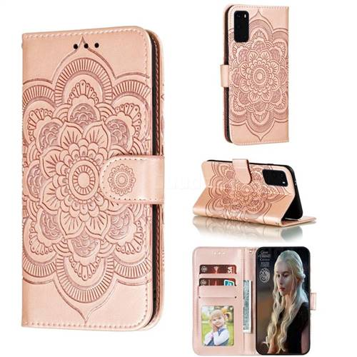 Intricate Embossing Datura Solar Leather Wallet Case for Samsung Galaxy S20 Plus / S11 - Rose Gold
