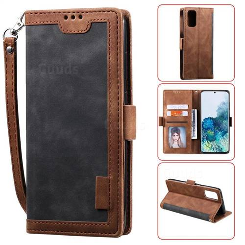 Luxury Retro Stitching Leather Wallet Phone Case for Samsung Galaxy S20 Plus / S11 - Gray