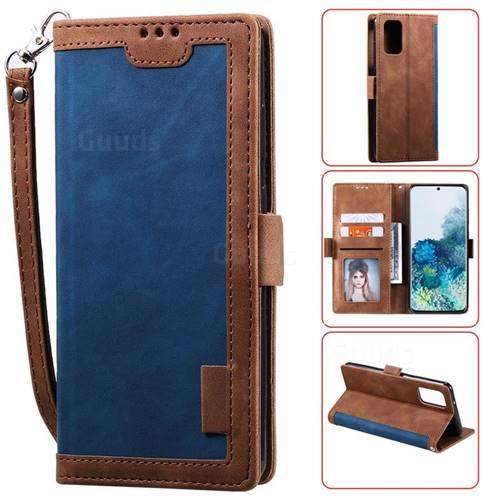 Luxury Retro Stitching Leather Wallet Phone Case for Samsung Galaxy S20 Plus / S11 - Dark Blue