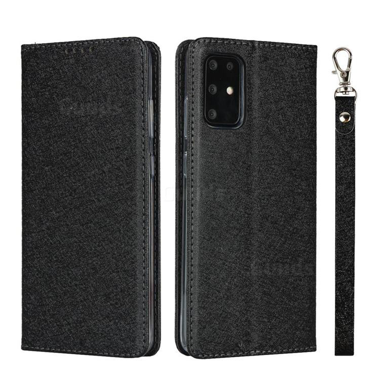 Ultra Slim Magnetic Automatic Suction Silk Lanyard Leather Flip Cover for Samsung Galaxy S20 Plus / S11 - Black