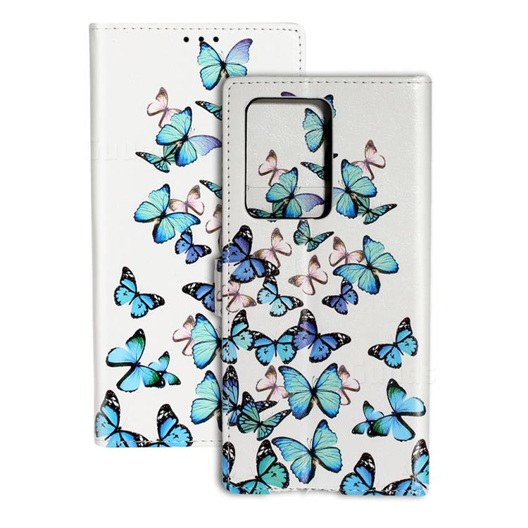 Blue Vivid Butterflies PU Leather Wallet Case for Samsung Galaxy S20 Plus / S11