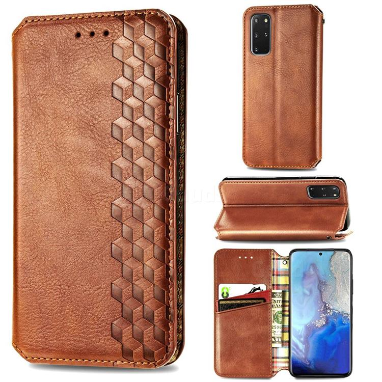 Ultra Slim Fashion Business Card Magnetic Automatic Suction Leather Flip Cover for Samsung Galaxy S20 Plus / S11 - Brown
