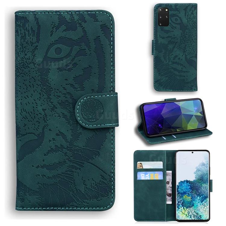 Intricate Embossing Tiger Face Leather Wallet Case for Samsung Galaxy S20 Plus / S11 - Green