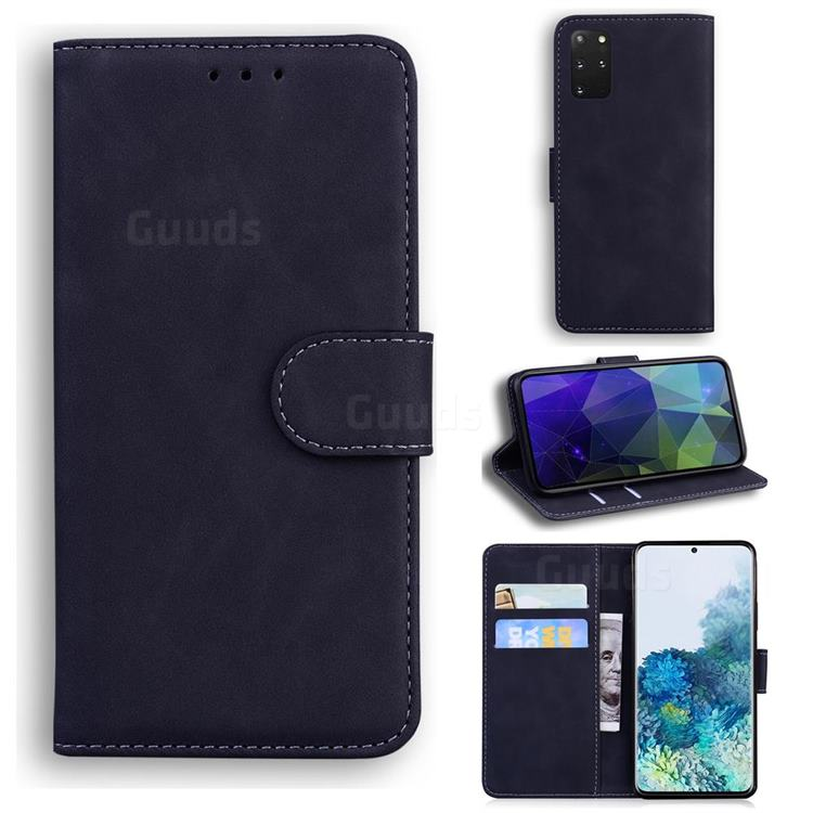 Retro Classic Skin Feel Leather Wallet Phone Case for Samsung Galaxy S20 Plus / S11 - Black