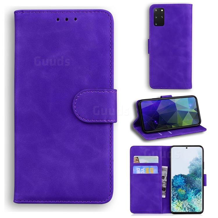 Retro Classic Skin Feel Leather Wallet Phone Case for Samsung Galaxy S20 Plus / S11 - Purple