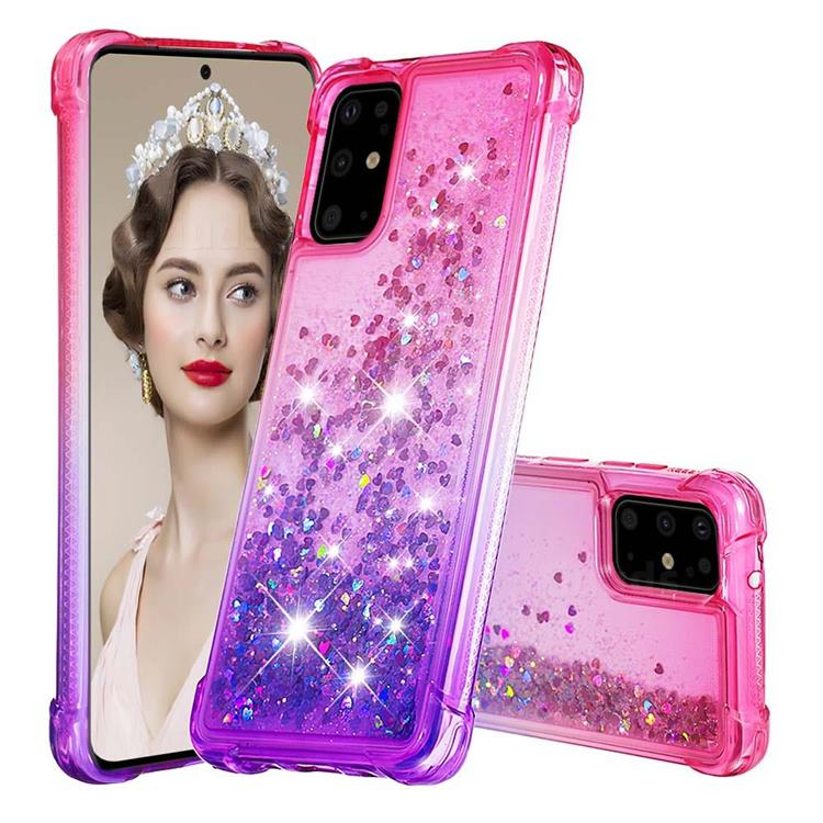 Rainbow Gradient Liquid Glitter Quicksand Sequins Phone Case for Samsung Galaxy S20 Plus - Pink Purple