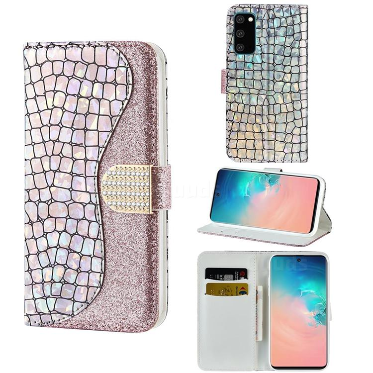 Glitter Diamond Buckle Laser Stitching Leather Wallet Phone Case for Samsung Galaxy S20 Plus - Pink