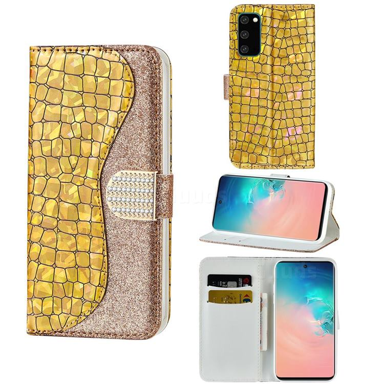 Glitter Diamond Buckle Laser Stitching Leather Wallet Phone Case for Samsung Galaxy S20 Plus - Gold