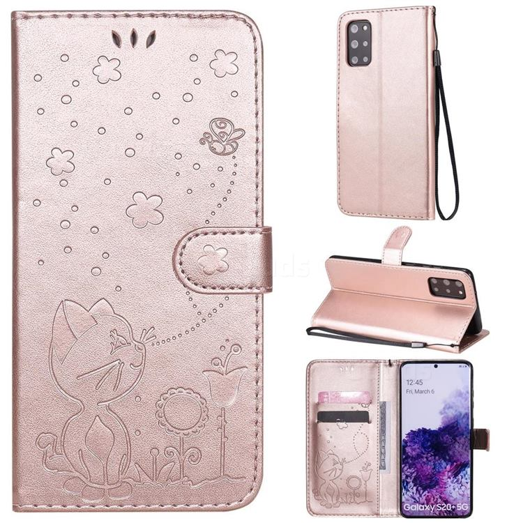 Embossing Bee and Cat Leather Wallet Case for Samsung Galaxy S20 Plus - Rose Gold