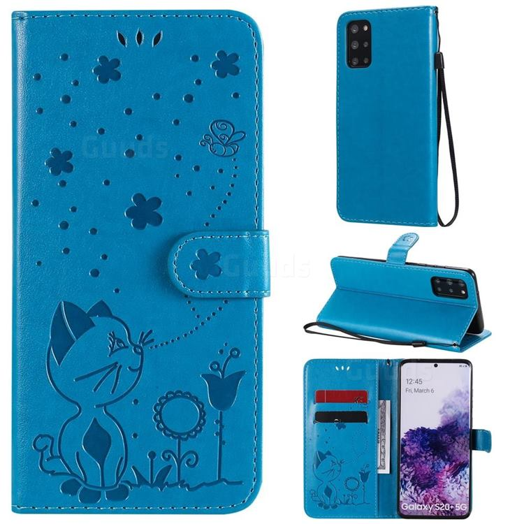 Embossing Bee and Cat Leather Wallet Case for Samsung Galaxy S20 Plus - Blue