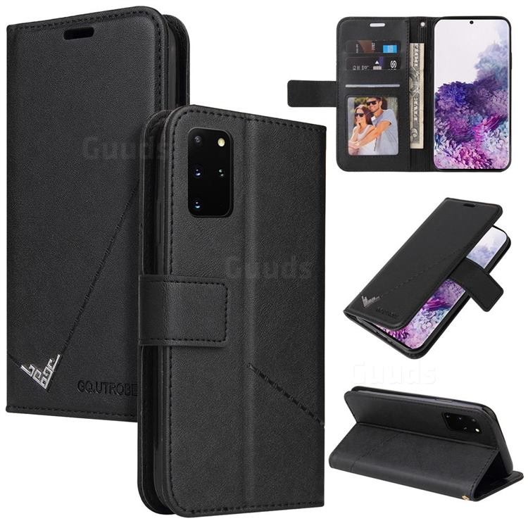 GQ.UTROBE Right Angle Silver Pendant Leather Wallet Phone Case for Samsung Galaxy S20 Plus - Black