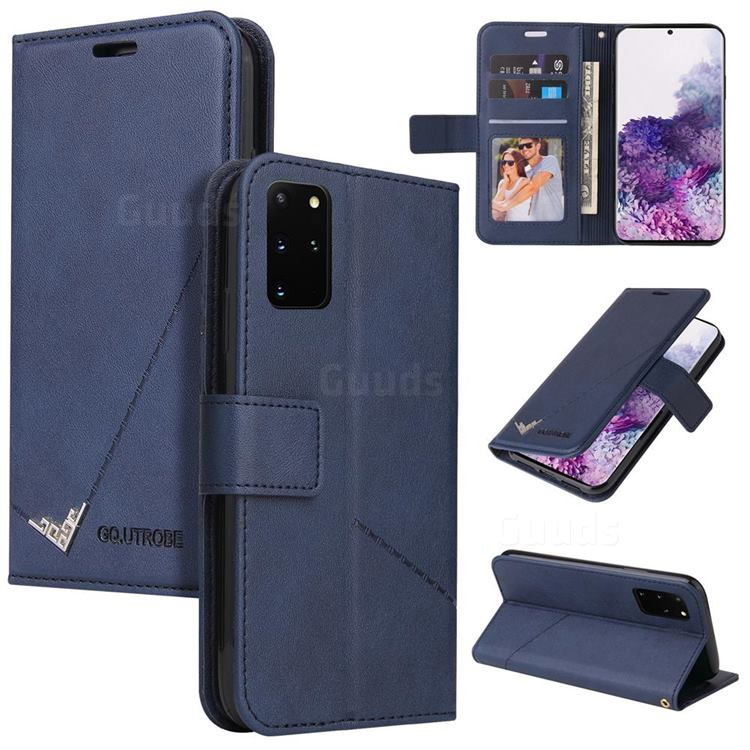 GQ.UTROBE Right Angle Silver Pendant Leather Wallet Phone Case for Samsung Galaxy S20 Plus - Blue