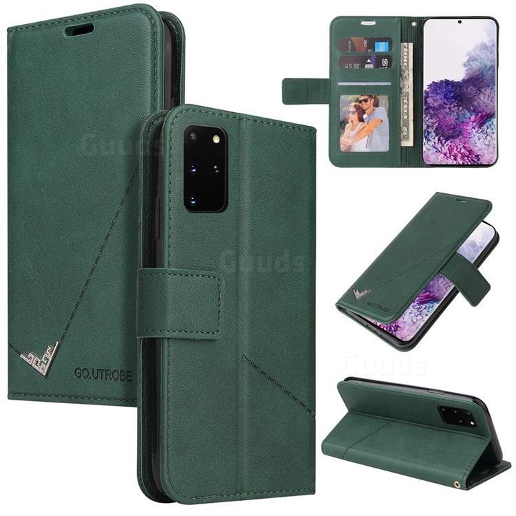 GQ.UTROBE Right Angle Silver Pendant Leather Wallet Phone Case for Samsung Galaxy S20 Plus - Green