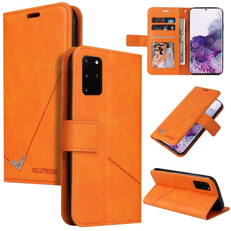 GQ.UTROBE Right Angle Silver Pendant Leather Wallet Phone Case for Samsung Galaxy S20 Plus - Orange
