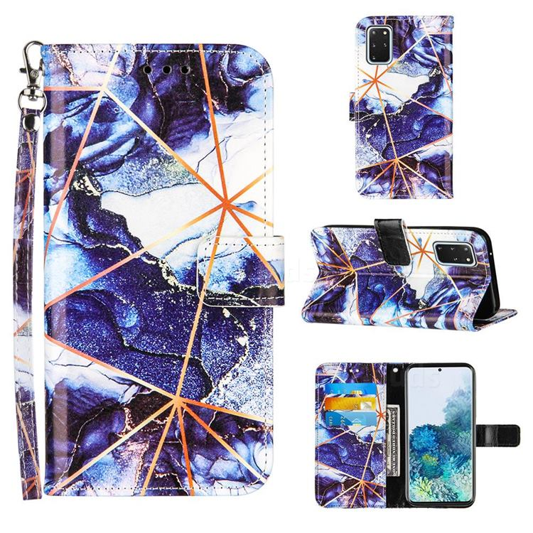 Starry Blue Stitching Color Marble Leather Wallet Case for Samsung Galaxy S20 Plus