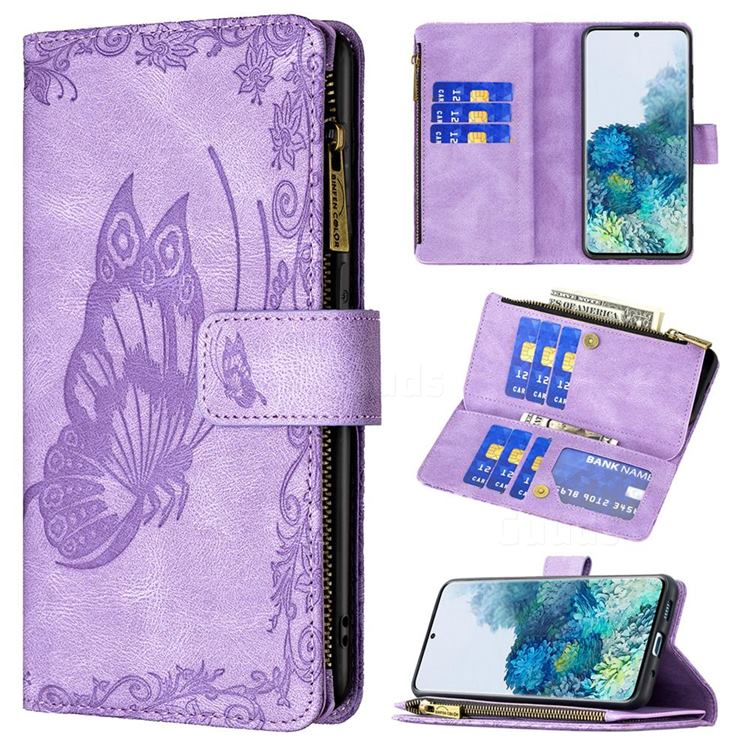 Binfen Color Imprint Vivid Butterfly Buckle Zipper Multi-function Leather Phone Wallet for Samsung Galaxy S20 Plus - Purple