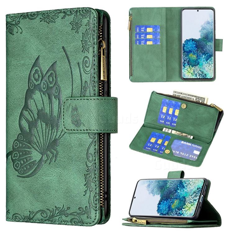 Binfen Color Imprint Vivid Butterfly Buckle Zipper Multi-function Leather Phone Wallet for Samsung Galaxy S20 Plus - Green